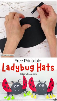 Isn't this Ladybug Hat Craft adorable? These ladybug headbands are really easy to make with the free printable ladybug craft template. Such a fun Summer insect craft for kids. (Free Printable Template.) #kidscraftroom #kidscrafts #ladybugs #ladybirds #kidsactivities #summercrafts #insects #insectcrafts #ladybugcrafts #kadybirdcrafts #papercrafts #printablecrafts Creative Activities For Kids, Crafts For Kids To Make, Art For Kids, Kids Crafts, Printable Crafts, Free Printable, Insect Crafts, Ladybug Crafts, Hat Crafts
