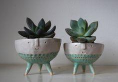 Pair of tripod bowl planters