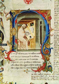 Divina Commedia:Dante Allighieri writing at his desk. Ornate initial. Ms.74,folio 3.Italian,late 14th.  Bibliotheque Nat.,Coll.des Manuscripts, Paris, France