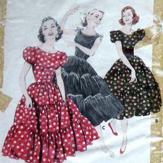 1950s Womens Western Wear Dress Pattern Square by kalliedesigns, $12.99