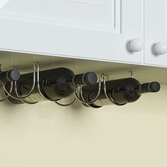 under cabinet wine bottle rack chrome finish metal fits 3 bottles http