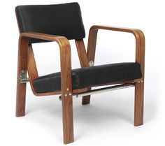 Josef Albers; #ti244, Laminated Beech and Chromed Tubular Steel Armchair, c1929.