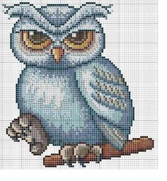 Cross-stitch Schematic Owl... use colors on pattern chart as your guide