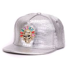 Crocodile skin Boy snap backs metal decoration PU leather flat brim baseball  caps hip hop hat for men 14df980f5f59