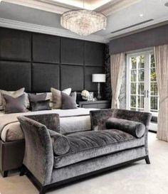 """DORMITORIO Instagram: """"Para os amantes do cinza, um quarto que é um luxo. Confesso que não gostava muito da tonalidade…"""""""
