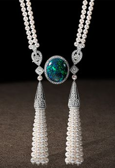 Necklace in platinum, diamonds and cultured pearls, set with a thirty-nine carat cabochon-cut green opal. The necklace is transformable. The bracelets can be attached together to form a long chain. Chaumet, Paris g+ Opal Jewelry, I Love Jewelry, High Jewelry, Jewelry Accessories, Jewelry Necklaces, Jewelry Design, Bracelets, Opal Necklace, Silver Jewelry