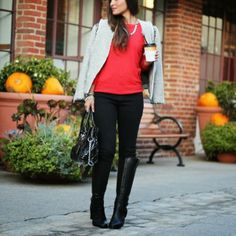 (Miss Me Jeans x MM Couture Tweed Jacket / Forever 21 red sweater / Nasty Gal denim) (JustFab Nikola boot / Charlotte Russe rings / Michael ...