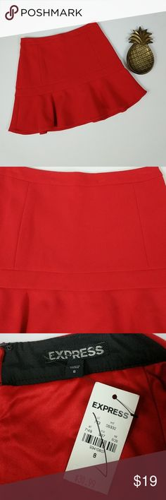 Express Fit and Flare Skirt Brand new with tags! Bright red fit and flare skirt from Express. Skirt has small ink mark on back near zipper. Laying flat and unstreched, skirt measures approximately 15 inches across the waist, 19.5 inches across the hips and is 16.5 inches long. Express Skirts Circle & Skater