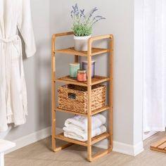 Honey-Can-Do 4 Tier Bamboo Accessory Shelf, Brown Bathroom Storage Shelves, Bedroom Storage, Storage Spaces, Bathroom Ladder Shelf, Bamboo Shelf, Wicker Shelf, Bathroom Standing Shelf, Wood Closet Organizers, Silver Room