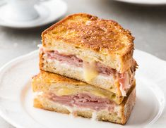 A Monte Cristo Sandwich is like the best ham and cheese sandwich you'll ever have! A ham and cheese sandwich, dipped in egg and cooked like french toast to perfect golden brown, buttery perfection. Great breakfast, lunch or meal. French Toast Sandwich, French Toast Rolls, Junk Food, Monte Cristo Sandwich, Recipetin Eats, Tasty, Yummy Food, Sandwich Recipes, Pork Recipes