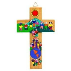 Hand painted image of Christ with the Children. Known as Children of the World United. Made from wood . 16 (40cms) High. Wall hanging Made by a Co operative in Latin America Beautiful Modern Image Lovely Bright Colours Fairly Traded Item. 2/34.  These crosses are made and painted by hand in a Co operative in El Salvador . The Co-operative 'feeds' out the orders to a number of artisans who are skilled in the manufacture and painting of the crosses. If the artisans cannot afford to buy th...
