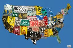 License Plate USA Map Canvas Art