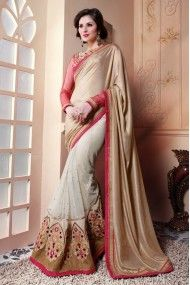 Banarasi Silk and Georgette Designer Party Wear Saree In Beige and Off White Colour