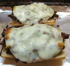 OMG! - Easy crock pot french dip sandwiches with au jus - My recipe is a bit easier. I just put beef broth and a packet of try onion soup mix. DELICIOUS!