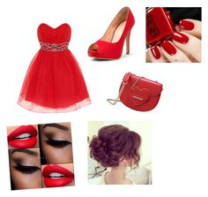 """Red prom"" by stylebylexie13 ❤ liked on Polyvore featuring beauty, Dorothy Perkins and Love Moschino"