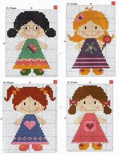 Cute dolls cross stitch pattern