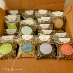 """Naja Tea designs loose leaf tea blends for every taste. We started selling our """"Sippers"""" to give customers a chance to experience a tea flavor before committing to our full sized canisters. We now sell them in flights of 4 and our customers LOVE them. Our labels are a big part of our brand, creating an inviting and colorful experience with our teas."""