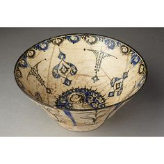 Bowl of white fritware with decoration painted in blue and black under a clear glaze, Iran, early century. Ceramic Sculpture, Sculptures, Islamic Art, Ancient Pottery, Ceramics, Artifacts, Art, Ancient Art, Ancient Artifacts