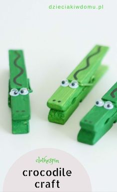 clothespin crocodile craft - My CMS Kids Crafts, Recycled Crafts Kids, Summer Crafts, Cute Crafts, Craft Stick Crafts, Toddler Crafts, Preschool Crafts, Projects For Kids, Diy For Kids