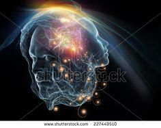Next Generation AI series. Backdrop of  fusion of human head and fractal shape to complement your design on the subject of mind, consciousness and spirituality