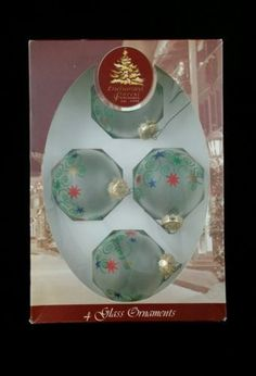 Enchanted Forest Glass Christmas Ornaments NIB 2002 made in usa