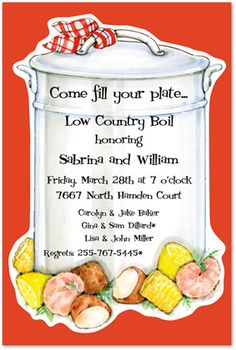 Low Country Boil Rehearsal Dinner Invitations, Low Country Boil, 9482
