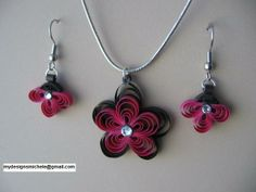 Quilling. Quilled flower jewelry with Swarovski crystals.