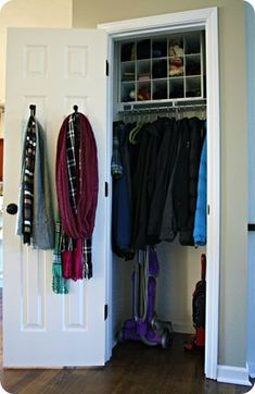 Curtain tie backs as hooks for coat closet, holds LOTs more! And I love the idea of having a shoe divider in the hall closet! Small Coat Closet, Front Closet, Hallway Closet, Small Closets, Closet Mudroom, Closet Redo, Closet Remodel, Shoe Closet, Coat Cupboard