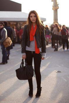 Weekend: Leather Blacket + Longsleeve Shirt + Red Scarf + Skinnies + Boots