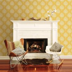 Retro tree design wallpaper in mustard yellow and grey and white | Home, Furniture & DIY, DIY Materials, Wallpaper & Accessories | eBay!