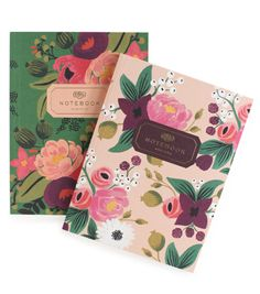 Vintage Blossom Notebook Set brings a subtle elegance to handwritten notes with gold foil accents on each page