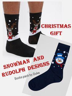 f98a08c179 Duke King Size 2 Pack Holidays Snowman   Reindeer Printed Socks at asos.com