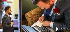 Groom writes down his wedding vows before his wedding in Columbia Missouri