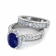 Build Your Own Vintage Inspired Engagement Wedding Ring Bridal Set with Diamonds andColor Gemstones - we chose a natural blue sapphire for this engagement ring. #MyLoveWeddingRing