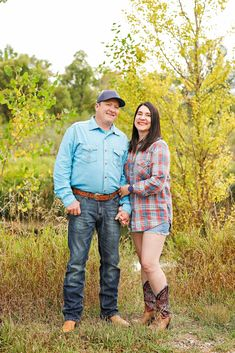 Fall Engagement Session - Couple Photo Session - Husband - Wife - Norm's Island - Billings - Autumn - Trees - Grass - Jeans - Blue Shirt - Baseball Cap - Cowboy Boots - Plaid Shirt - Shorts - Cutoffs - Montana Wedding Photographer - Montana Family Photographer - Sara Nagel Photography