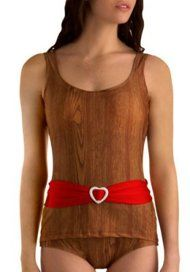 First of all, yes it is a one-piece, despite the fact that it looks like a tankini. But more importantly, does anyone have any desire to look like they're wearing a swimsuit made out of wood? It's definitely... different! The worst part of this swimsuit though is definitely the non-detachable red belt with a heart buckle that reminds us of the ones on those gymnastics leotards we had as kids.
