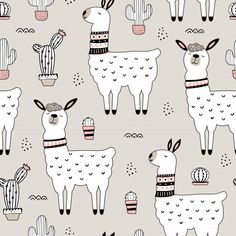 Seamless pattern with llama and cactus Alpaca Illustration, Pattern Illustration, Fall Wallpaper, Wallpaper Iphone Cute, Cow Cat, Paper Cactus, Cute Alpaca, Funny Doodles, Leaf Drawing