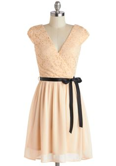 I wouldn't have chosen black as the color for the ribbon, but whatever... Champagne at Midnight Dress in Moonlight, #ModCloth