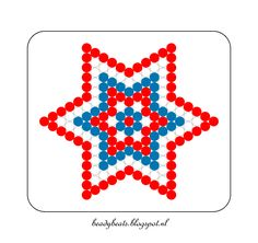 Beady Beads - Star 3c. Perler / Hama / Fusion / Melty / Pyssla Beads. Free Pattern Card! Visit my blog for more free patterns.