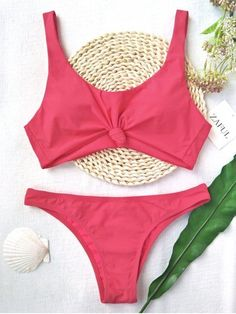 Cute scoop collar two piece swimwear feature a front knotted deatil, with a padded bra type, high leg bikini bottoms, in a solid color hue.   #Zaful #Swimwear #Bikini