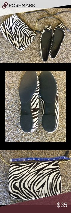 Talbots set of shoes and purse Faux fur zebra striped purse with matching shoes Talbots Shoes Flats & Loafers