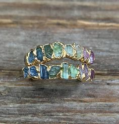 Raw tourmaline ring / Gold tourmaline ring / Watermelon
