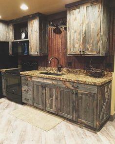 Barnboard cupboards