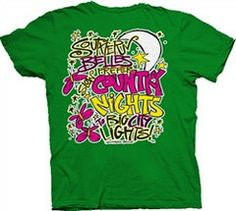 Southern Belle Funny Big City Lights Green Girlie Bright T Shirt | SimplyCuteTees