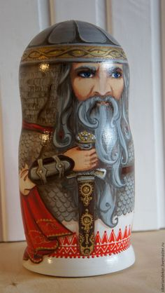 Купить Матрешка Русские богатыри - серый, матрешка, матрешка авторская, матрешка роспись, русский стиль