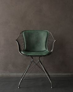 Overgaard & Dyrman - Wire Dining Chair in burned steel finish and British racing. - - Overgaard & Dyrman – Wire Dining Chair in burned steel finish and British racing green leather – www. Furniture Decor, Modern Furniture, Furniture Design, Danish Furniture, Office Furniture, Luxury Furniture, Furniture Inspiration, Interior Inspiration, Design Inspiration