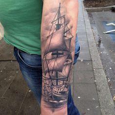 Skin Deep Tales - Miguel Ameliach Tattoo Pirate, Pirate Ship Tattoos, Inner Forearm Tattoo, Forearm Sleeve Tattoos, Badass Tattoos, Body Art Tattoos, Portuguese Tattoo, Nautical Tattoo Sleeve, Swing Tattoo