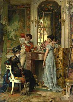 A Carta de Importância (1878). Carl Heinrich Hoff (alemão, 1838-1890). Óleo sobre tela.