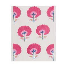 Madeline Weinrib - Pink Carnation Suzani Fabric - Suzani - FABRICS