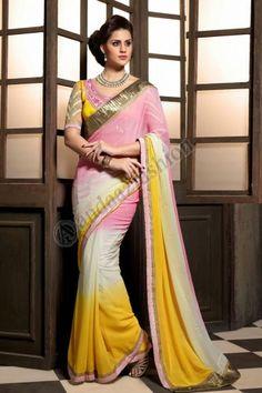 Jaune georgette saree avec blouse jaune conception n for Magasins de robe de mariage lexington ky